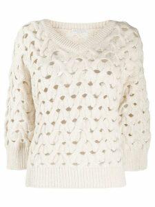 Brunello Cucinelli open knit jumper - NEUTRALS