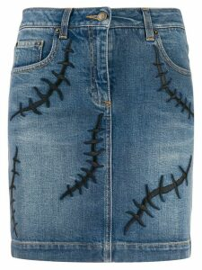 Moschino embroidered detail denim skirt - Blue