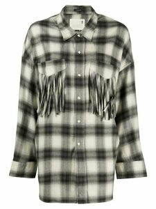 R13 fringed pockets plaid shirt - Black