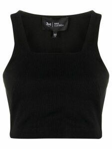 3x1 square neck tank top - Black