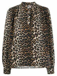 GANNI leopard print blouse - NEUTRALS