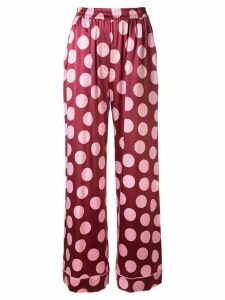 Dolce & Gabbana silk spotted trousers - Red