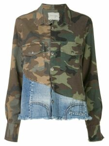 Greg Lauren patchwork long sleeve shirt - Green