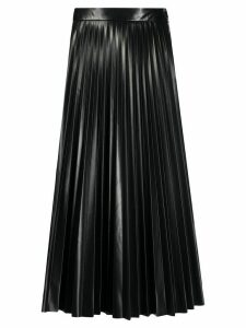 Mm6 Maison Margiela leather look pleated midi skirt - Black