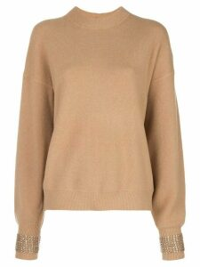 Alexander Wang embellished-cuff oversized sweater - NEUTRALS