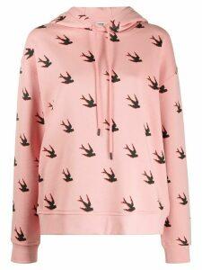 McQ Alexander McQueen loose-fit swallow-print hoodie - PINK