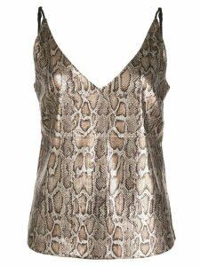 L'Agence snakeskin-effect plunge-neck cami top - Brown