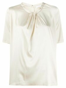Fabiana Filippi pleated-neck satin T-shirt - NEUTRALS