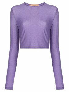 Andamane long-sleeved metallic cropped top - PURPLE
