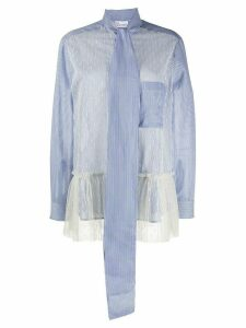 RedValentino point d'esprit panelled shirt - Blue