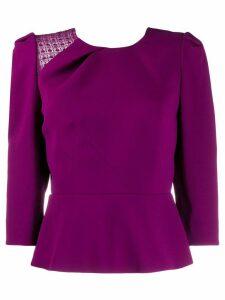 Roland Mouret Ashridge lace panel blouse - PURPLE