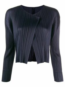 Pleats Please Issey Miyake pleated lapel cardigan - Blue