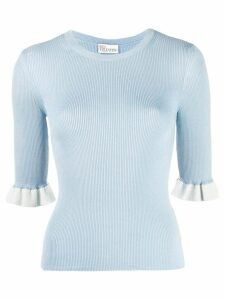 RedValentino ruffled cuffs knitted top - Blue