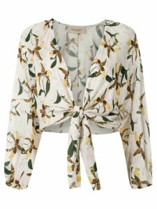Adriana Degreas front tie printed shirt - White