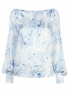 Baum Und Pferdgarten marble-print blouson-sleeved blouse - Blue