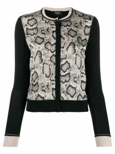 Paule Ka snakeskin-print panelled cardigan - NEUTRALS