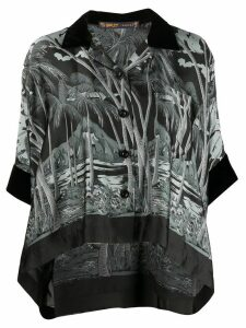 Sacai oversized tropical-print shirt - Black