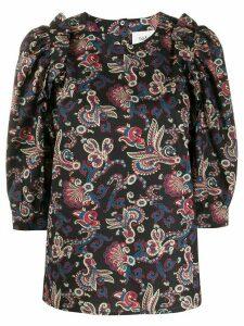 Ba & Sh Rym ruffled paisley-print blouse - Black