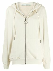 Off-White Arrows print zip-up hoodie - NEUTRALS