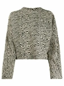 Nanushka zebra block print top - Black
