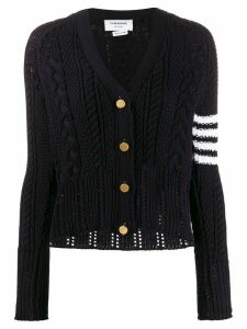 Thom Browne 4-Bar Aran Cable V-Neck Cardigan - Blue