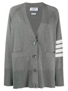Thom Browne 4-bar raglan sleeved V-neck cardigan - Grey