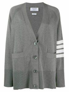 Thom Browne 4-bar raglan sleeved V-neck cardigan - Grey