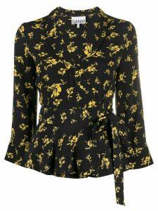 GANNI floral wrap blouse - Black