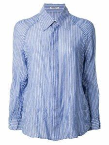 Yohji Yamamoto striped print long sleeve shirt - Blue