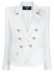 Balmain double-breasted tweed blazer - White