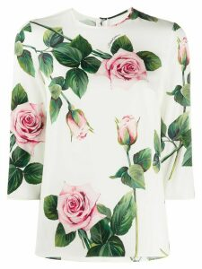 Dolce & Gabbana tropical rose print T-shirt - White