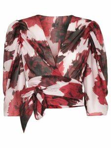 Alexandre Vauthier floral print wrap blouse - Red