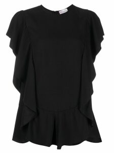 Red Valentino ruffled shortsleeved blouse - Black