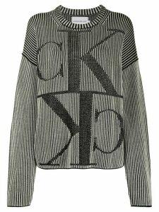 Calvin Klein Jeans ribbed monogram-intarsia jumper - Black