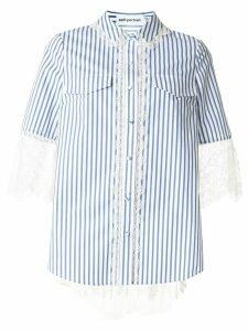 Self-Portrait striped print lace trim shirt - Blue