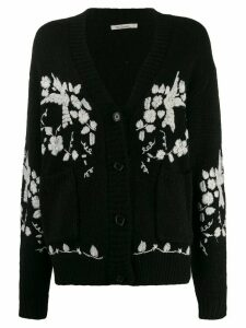 Mes Demoiselles embroidered Botanic cardigan - Black