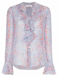 See by Chloé patterned ruffled blouse - Blue