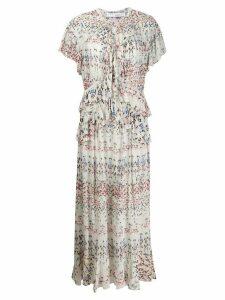 IRO geometric print ruffle dress - White
