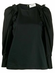Ba & Sh Passion puffed-shoulder cotton blouse - Black