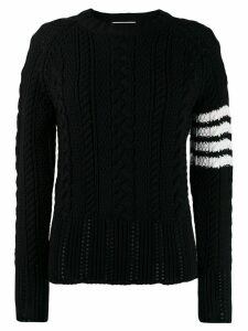 Thom Browne 4-Bar Aran Cable Pullover - Blue