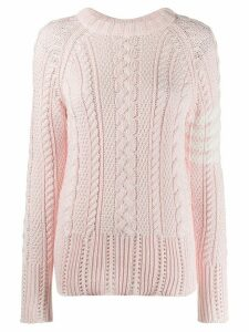 Thom Browne 4-Bar cable knit jumper - PINK