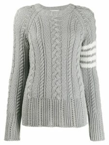 Thom Browne 4-Bar Aran Knit Jumper - Grey