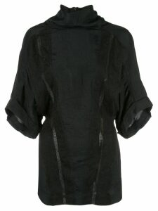 Nina Ricci turtleneck crinkled top - Black