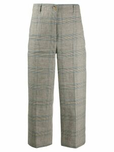 Semicouture cropped plaid trousers - NEUTRALS