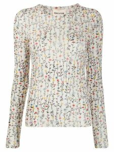 Semicouture fitted floral-print top - White