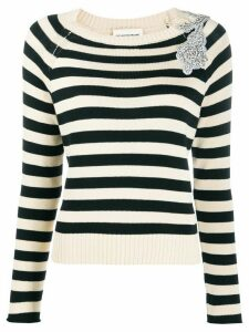 Semicouture embellished striped pullover - NEUTRALS