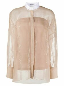 Brunello Cucinelli sequin stripes sheer shirt - NEUTRALS
