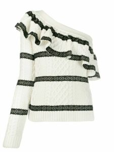 Self-Portrait one-sleeve lace trim jumper - White