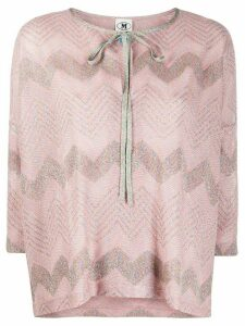 M Missoni metallic chevron-pattern top - PINK