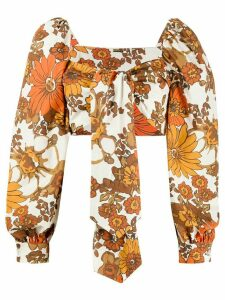 Dodo Bar Or floral-print cropped top - NEUTRALS